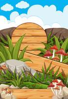Scene with wooden boards in garden
