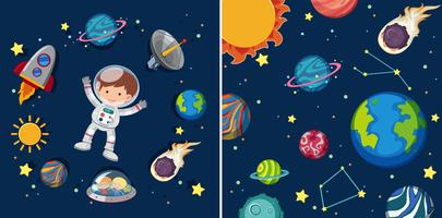 Two space scenes with planets and astronaut