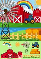 Farm scenes with windmill and hay
