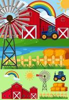 Escenas de granja con molino de viento y heno.