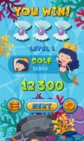 Spel sjabloon met zeemeermin onderwater scène