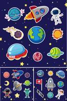Raumikonen mit Raketen und Planeten