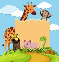 Grensmalplaatje met leuke dieren in park
