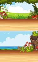 Two background scenes with garden and ocean vector