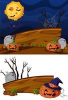 Modello di cartello in legno con sfondo a tema halloween