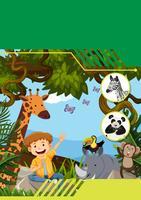 Wild lebende Tiere mit Jungenschablone