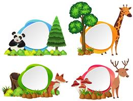 Four label templates with wild animals