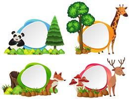 Vier Etikettenvorlagen mit wilden Tieren