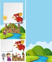 Modelo de fronteira com dragão vermelho sobre o castelo