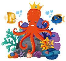 Octopus die kroon onder water draagt