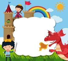 Border template with prince saving princess from dragon