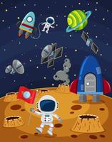 Space scene with astronauts and spaceships
