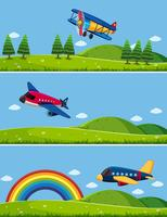 Three scenes with airplanes in sky