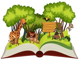 Libro pop-up a tema animali selvatici e giungla