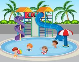 Barn på vattenparken
