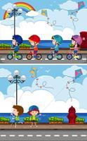 Due scene con bambini che vanno in bicicletta e giocano a kite