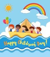 Happy children's day poster with kids sailing