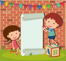 Banner template with boy and girl writing