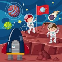 Twee astronauten en raketten op de planeet