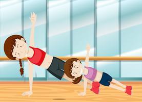 Mor och daugther tyngdsträning