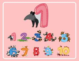 Number one and other numbers with animals