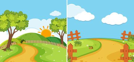 Duas cenas rurais com estrada e campo