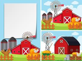 Three scenes with barns and chickens