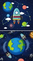 Two scenes of earth and spaceships in space