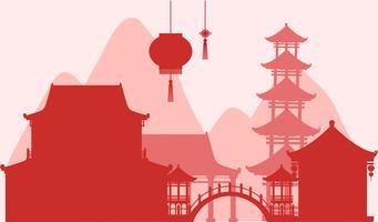 Hintergrunddesign mit Schattenbildgebäuden im Rot