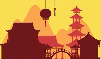 Chinesischer Themahintergrund mit Tempelgebäuden