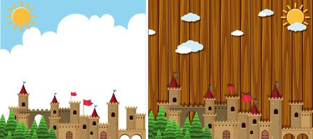 Two background with castle towers