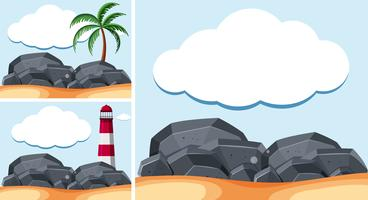 Background scenes with lighthouse and rocks