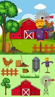 Farm scene with scarecrow and other elements