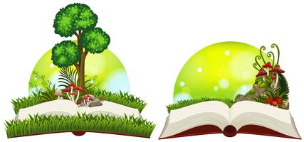 Book of nature with grass and tree