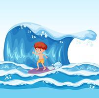 Jonge jongen die op golf surft