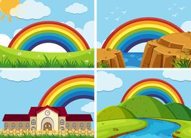 Four scenes with rainbow in the sky