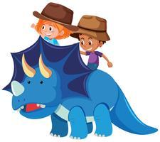 Dois, crianças, montando, dinossauro