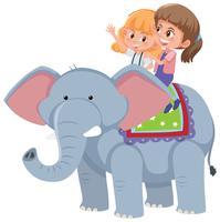 Flickor rider en elefant