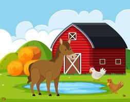 Animales de granja en el granero