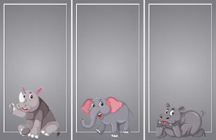 Conjunto de borde gris animal