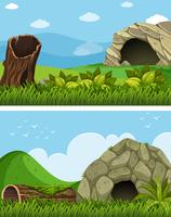 Dos escenas con cueva en el campo.