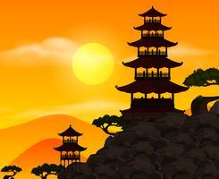 Scène de fond avec silhouette bâtiment au coucher du soleil