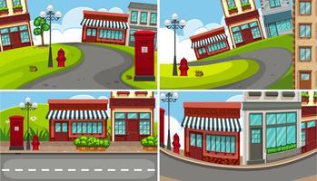 Vier scènes van de stad met veel gebouwen