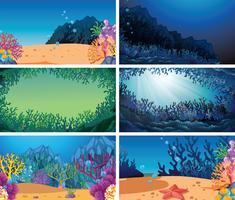 Set of different underwater scene