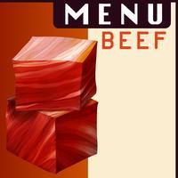 Menyaffisch med nötkött i tärningar