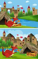 Two scenes with red dragon guarding treasure