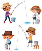 Sats barn som fiskar