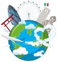 Landmarks on globe with airplane