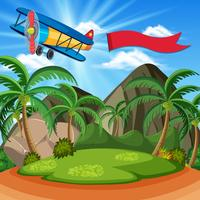 Background scene with airplane and red flag