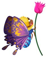 Butterfly flying by the pink flower vector